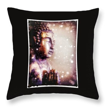 Snowy Buddha Throw Pillow