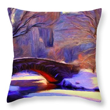Snowy Central Park Throw Pillow by Caito Junqueira