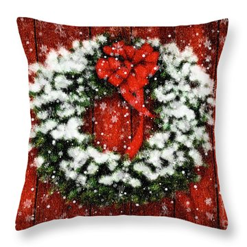 Throw Pillow featuring the photograph Snowy Christmas Wreath by Lois Bryan