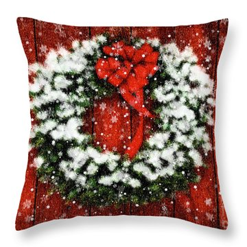 Snowy Christmas Wreath Throw Pillow