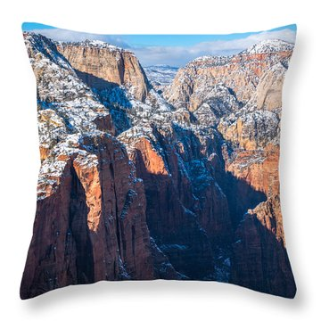 Snowy Cliffs Of Zion National Park Throw Pillow