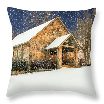 Snowy Cloudland Presbyterian Church  Throw Pillow