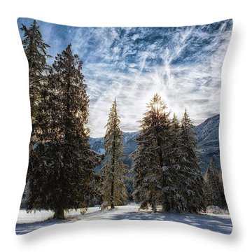 Snowy Clouds Throw Pillow