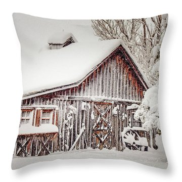 Snowy Country Barn Throw Pillow