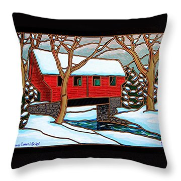 Snowy Covered Bridge Throw Pillow