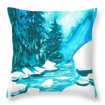 Throw Pillow featuring the mixed media Snowy Creek Banks by Seth Weaver