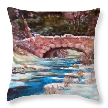Throw Pillow featuring the painting Snowy Creek by Jim Phillips