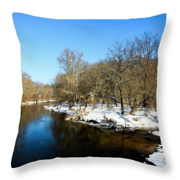 Snowy Creek Morning Throw Pillow