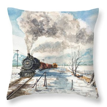 Snowy Crossing Throw Pillow