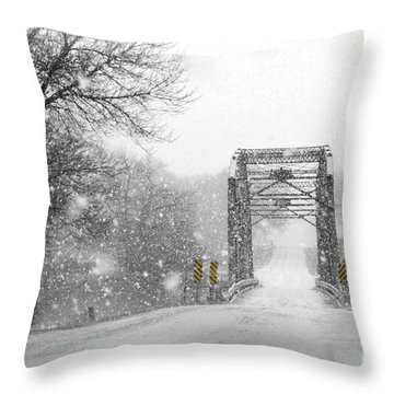 Snowy Day And One Lane Bridge Throw Pillow by Kathy M Krause
