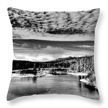 Snowy Day At The Green Bridge Throw Pillow by David Patterson