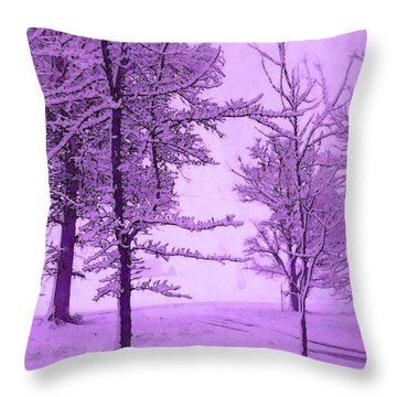 Throw Pillow featuring the photograph Snowy Day In Purple by Michelle Audas