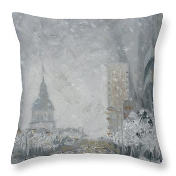 Snowy Day - Market Street Saint Louis Throw Pillow
