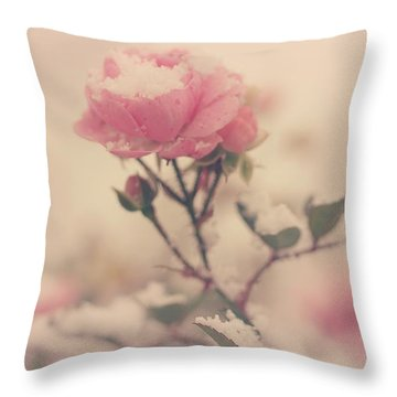 Snowy Day Of Roses Throw Pillow