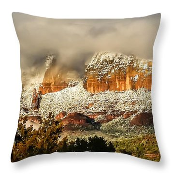 Snowy Day In Sedona Throw Pillow