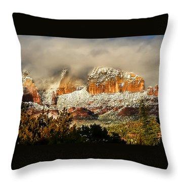 Snowy Day In Sedona Throw Pillow