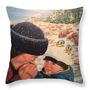 Snowy Day With My Dad Throw Pillow