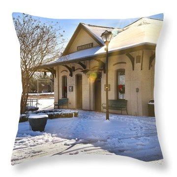 Snowy Depot Throw Pillow