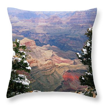 Snowy Dropoff - Grand Canyon Throw Pillow