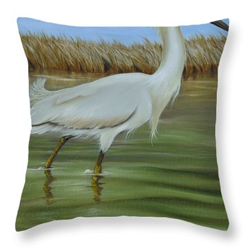 Throw Pillow featuring the painting Snowy Egret 1 by Phyllis Beiser