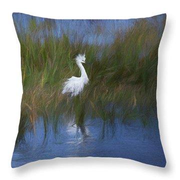 Snowy Egret Throw Pillow