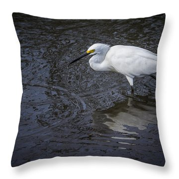 Snowy Egret Hunting Throw Pillow