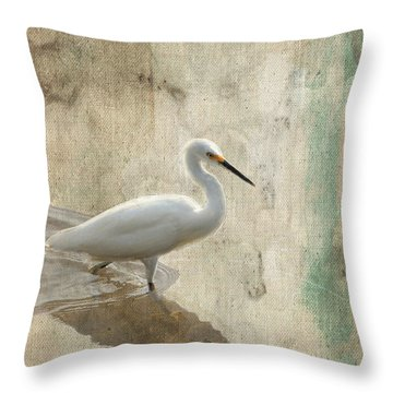 Snowy Egret In Grunge Throw Pillow