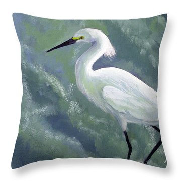 Snowy Egret In Water Throw Pillow
