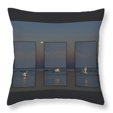 Snowy Egret Moon Throw Pillow