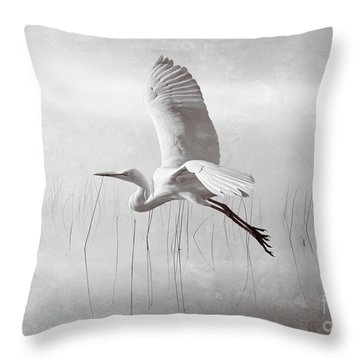 Snowy Egret Morning Bw Throw Pillow
