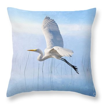 Snowy Egret Morning Throw Pillow