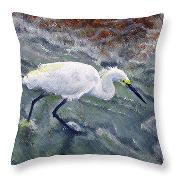 Snowy Egret Near Jetty Rock Throw Pillow