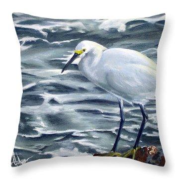 Snowy Egret On Jetty Rock Throw Pillow