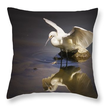 Snowy Egret Reflection Throw Pillow