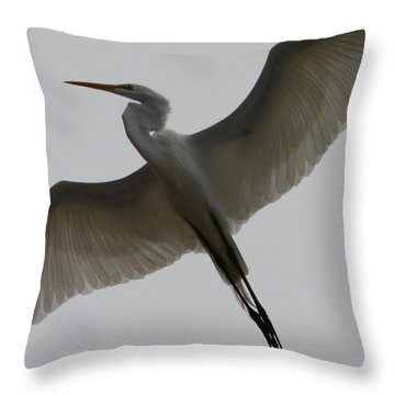 Snowy Egret Wings Of An Angel Throw Pillow