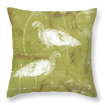 Snowy Egrets Throw Pillow by Arline Wagner