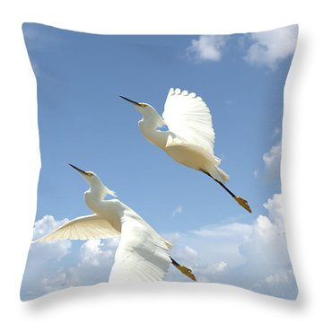 Snowy Egrets In Flight Throw Pillow