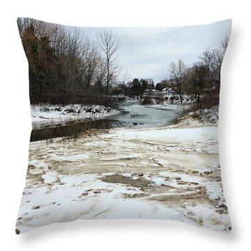 Snowy Elk Rapids River Throw Pillow