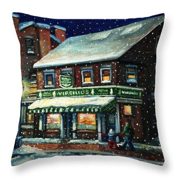Snowy Evening In Gloucester, Ma Throw Pillow