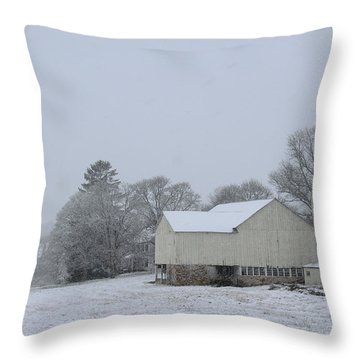 Winter White Farm Throw Pillow