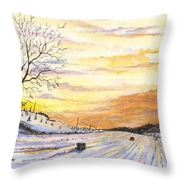 Snowy Farm Throw Pillow