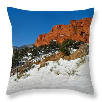 Throw Pillow featuring the photograph Snowy Fields At Garden Of The Gods by Adam Jewell