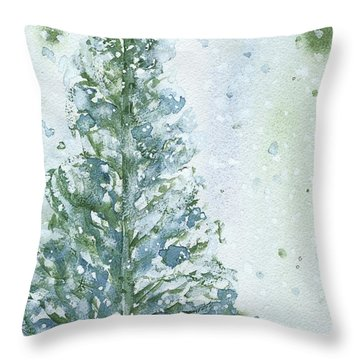 Throw Pillow featuring the painting Snowy Fir Tree by Dawn Derman