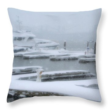 Snowy Harbor Throw Pillow