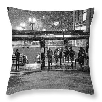 Snowy Harvard Square Night- Harvard T Station Black And White Throw Pillow