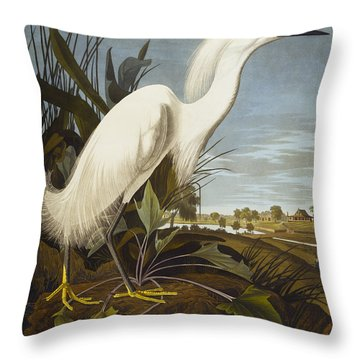 Snowy Heron Throw Pillow by John James Audubon