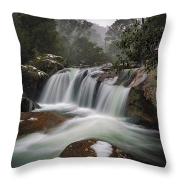 Snowy Mist Throw Pillow
