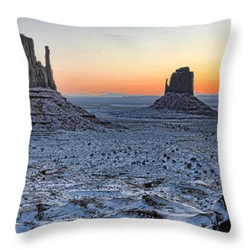 Snowy Mittens - Monument Valley  Throw Pillow