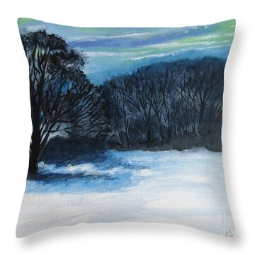 Snowy Moonlight Night Throw Pillow