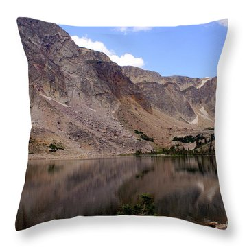 Snowy Mountain Loop 4 Throw Pillow by Marty Koch